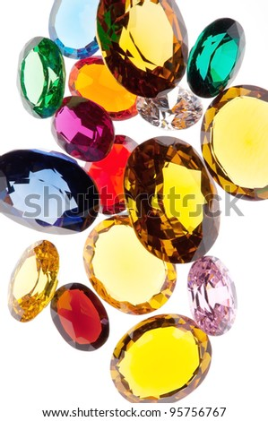 colorful gems isolated on white background - stock photo