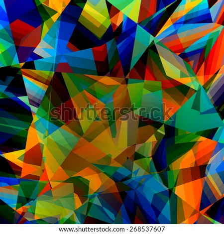 Colorful Geometric Background. Abstract Triangular Pattern. Polygonal Art Illustration. Poly Style Design. Triangle Elements Concept. Modern Digital Texture. Chaotic Blue Yellow Mosaic. Graphic. - stock photo