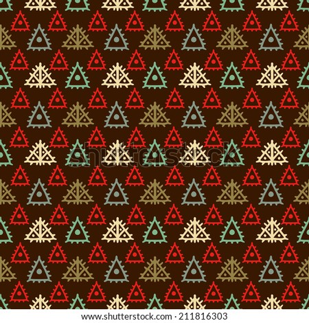 Colorful geometric ethnic seamless pattern with triangles. Abstract background. Aztec ornament. Folk. Fabric, textile design. Patchwork. Patches. Endless print texture. Wallpaper -  raster version  - stock photo