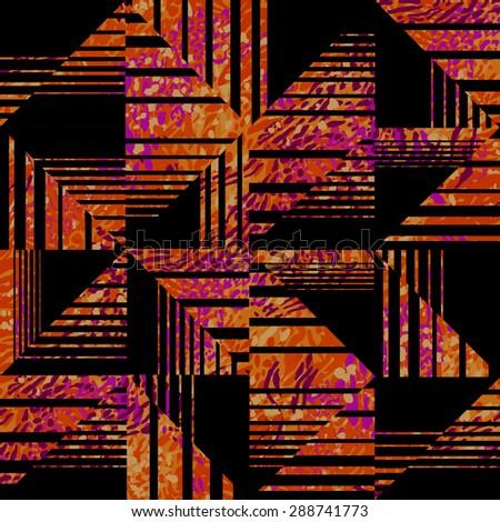 colorful geometric print~ seamless background - stock photo