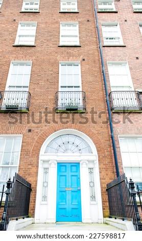 Colorful Georgian doors in Dublin (blue) - stock photo