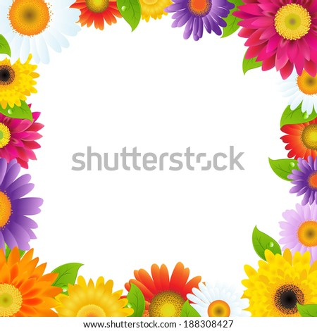 Colorful Gerbers Flower Frame - stock photo