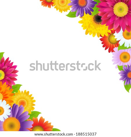 Colorful Gerbers Flowers Border - stock photo