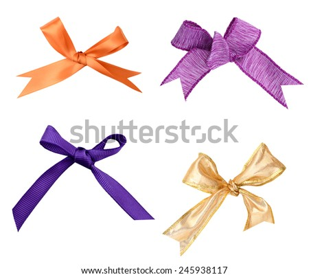 colorful gift bows with ribbons - stock photo