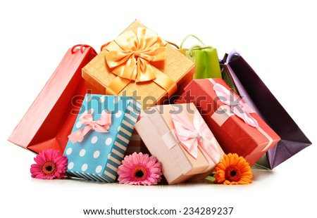 Colorful gift boxes and bags isolated on white background. - stock photo