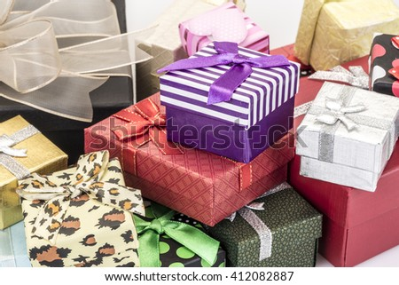colorful gift boxes as a background - stock photo