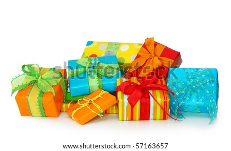 Colorful gift boxes isolated on white background - stock photo
