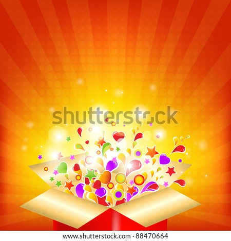 Colorful Gift Red Box - stock photo