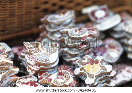 Colorful gingerbread arranged for sale - stock photo
