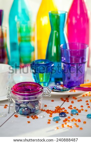 colorful glass arrangement - stock photo