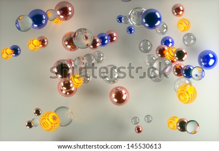 colorful glass balls on a white background - stock photo