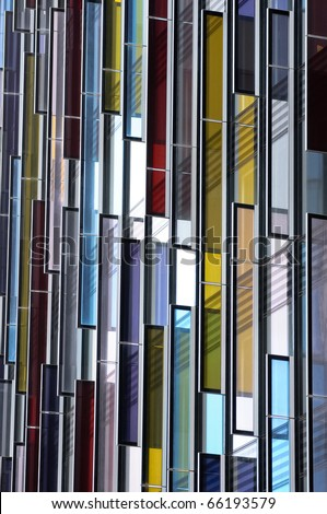 Colorful glass Facade, architecture abstract - stock photo