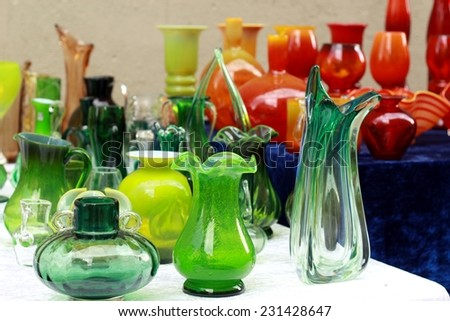 colorful glass vases at the flea market/colorful glass vases at the flea market - stock photo
