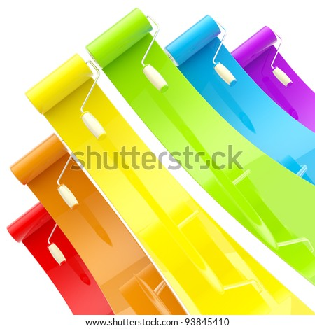 Colorful glossy bright rainbow paint rollers with color strokes - stock photo
