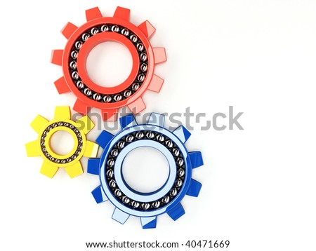 colorful glossy  cog wheels (gears) - stock photo