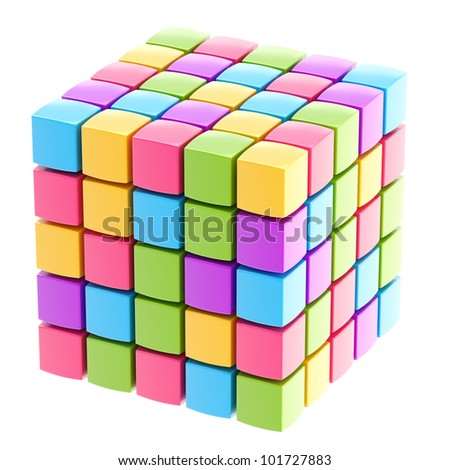 Colorful glossy cube structure isolated on white - stock photo