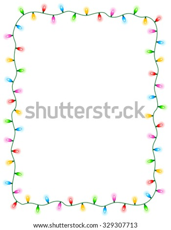 Colorful glowing christmas lights border / frame. Colorful holiday lights illustration - stock photo