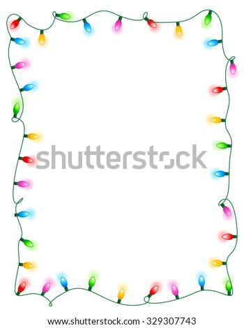 Colorful glowing christmas lights border / frame. Colorful holiday lights illustration - stock photo