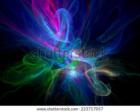 Colorful glowing plasma, computer generated abstract background - stock photo