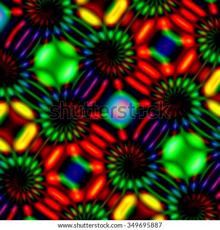 Colorful glowing swirls. Soft magic blur. Neon light effect. Odd twist fiction. Multi color render. Weird cyber trance. Freaky visual arts. Hippie rgb backdrop. Bizarre full frame imagery. Picture. - stock photo