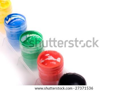 colorful gouache paints - stock photo
