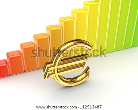 Colorful graph and euro sign.Isolated on white background.3d rendered. - stock photo