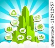 Colorful Green city with Eco and recycling icons in speech bubbles. - stock photo