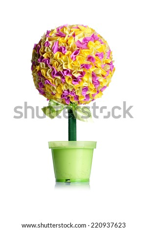 colorful green potted topiary - stock photo