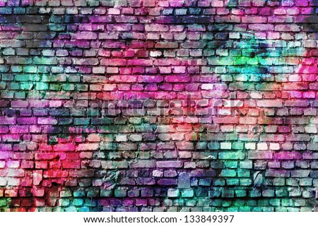 colorful grunge art wall illustration, urban art wallpaper, background - stock photo