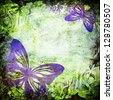 Colorful grunge background with butterfly. - stock photo