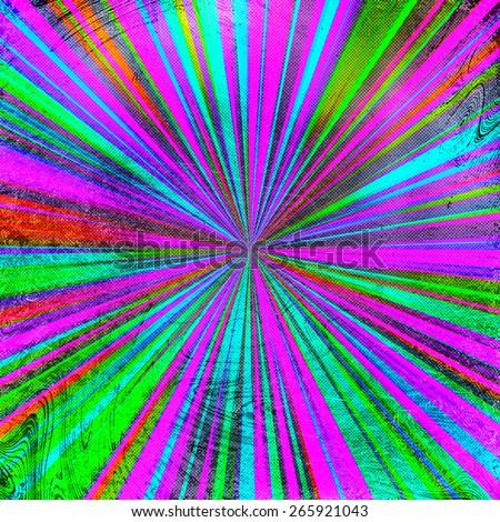 colorful grunge sunburst  background - stock photo