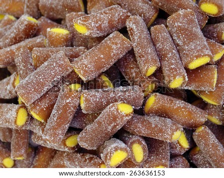 Colorful gummy candies in  market - stock photo