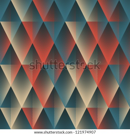 Colorful halftone textured geometric background. Seamless pattern. - stock photo