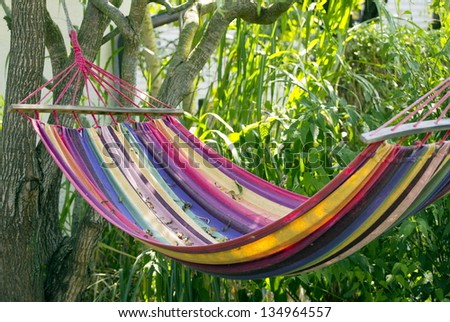 Colorful hammock in the garden in the shades of the tree. - stock photo