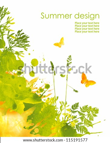 Colorful hand drawn design from watercolor stains. Grass, butterfly and splash of paint, isolated on white background - stock photo