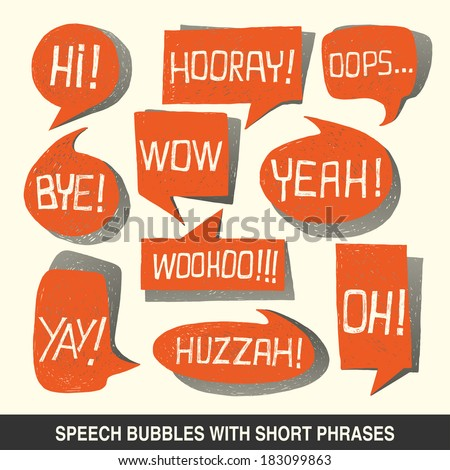 Colorful hand-drawn speech bubble set with short phrases (oh, hi, yeah, wow, yay, bye, hooray, woohoo, huzzah, oops) on white background - illustration - stock photo