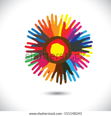 Colorful hand icons as petals of flower: happy community concept. This graphic illustration represents people team standing united, community unity, people helping, universal brotherhood, etc - stock photo
