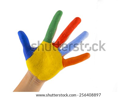 colorful hand on white background - stock photo