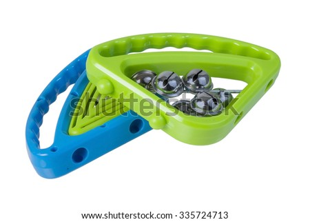 Colorful hand percussion Tambourines that can be shaken - path included - stock photo