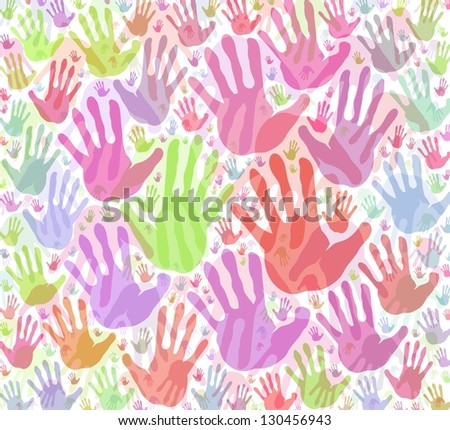 Colorful hand print background - stock photo