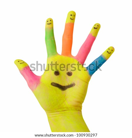 colorful hand with smile painted on palm and happy finger smileys as logo. Symbol of partnership, social network, meeting and hospitality. Isolated on white background with clipping path - stock photo
