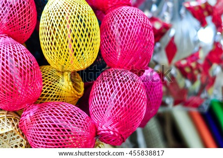 Colorful Handicraft Basket Made From Bamboo Or Rattan - stock photo
