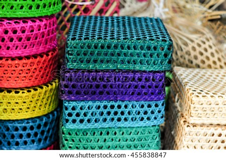 Colorful Handicraft Weaving Basket Made From Bamboo Rattan - stock photo