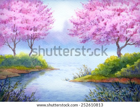 Colorful handmade bright romantic watercolour on paper backdrop card with space for text. Prime elegant fragrant fruit seedlings in bushes on islands over quiet loch in gentle calm of fresh twilight - stock photo