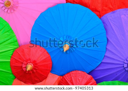 Colorful handmade umbrella's Bo Sang village Northern Thailand - stock photo