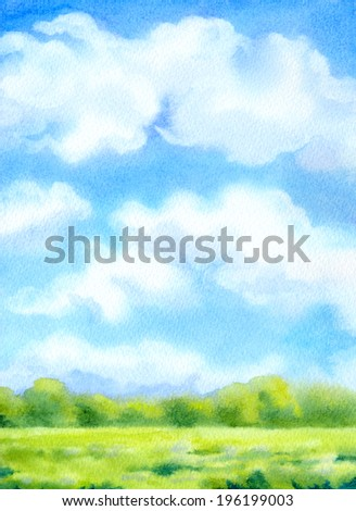 Colorful handmade watercolor cheerful backdrop with space for text. Vivid blue sky with white cumulus clouds over light green sunlit meadow and lush bushes on the horizon - stock photo