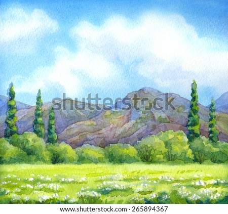 Colorful handmade watercolour cheerful backdrop with space for text. Flock of birds over light green sunlight grassland with thick grove before high rocky mountains on horizon in warm summertime day - stock photo