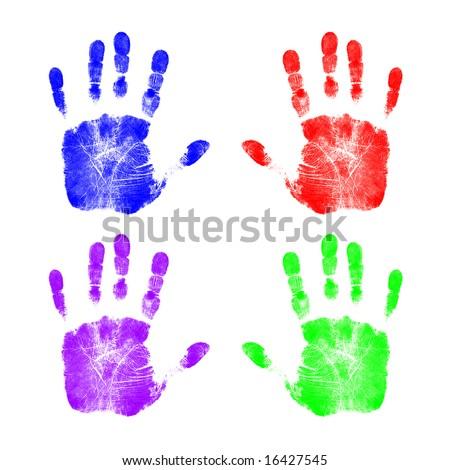 Colorful Handprints - stock photo