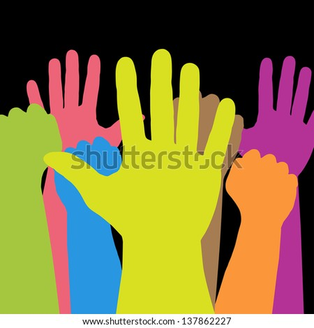 Colorful hands - stock photo