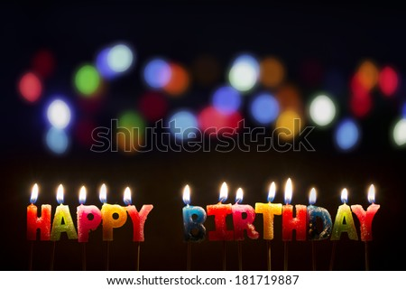 Colorful Happy Birthday Candles - Stock Image - stock photo